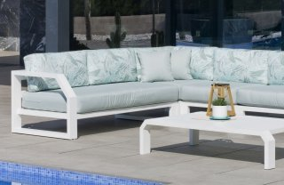 Ensemble Salon Sofa De Jardin ANTINEA CC8 en ALUMINIUM BLANC Coussins couleur MIRTA DALIA INDOOR OUTDOOR 31504