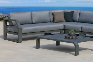 Ensemble Salon Sofa De Jardin ANTINEA CC8 en ALUMINIUM ANTHRACITE Coussins couleur JOANA INDOOR OUTDOOR 31505