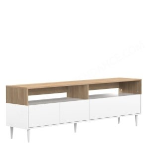 MEUBLE TV HORIZON 3ABT CHENE NAT BLANC HORIZON SYMBIOSIS 3150A0321A01