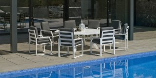 Table A Manger AMBERA 200 en ALUMINIUM BLANC INDOOR OUTDOOR 31520
