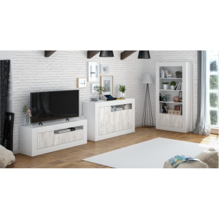LILI - Meuble TV Design 3 portes  L139 cm - Blanc