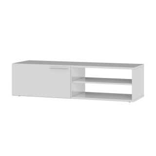 Meuble TV 1 porte battante et 2 niches de rangement L130 cm - Blanc brillant