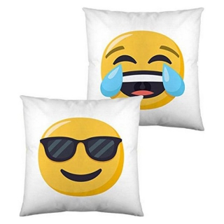 Coussin rembourré Emoji Face with Tears of Joy and Smiling with Sunglasses (40 x 40 cm)