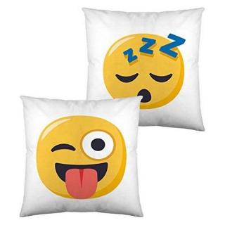 Coussin rembourré Emoji Winking Face with Tongue and Sleeping (40 x 40 cm)