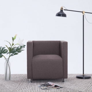 Fauteuil cube Taupe Tissu
