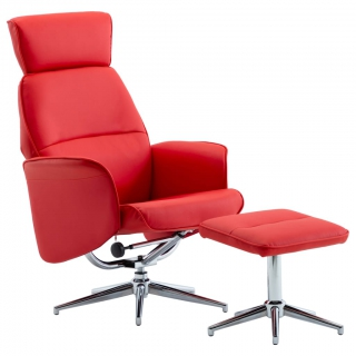 Fauteuil inclinable avec repose-pied Rouge Similicuir