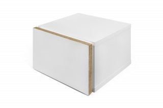 Table de chevet Float - blanc mat avec bords en contreplaqué TEMAHOME 9000.756924