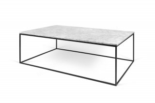Table basse GLEAM 120 - Marbre blanc et pieds noirs TEMAHOME 9500.626005
