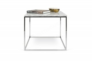 Table basse GLEAM 50 - marbre blanc/chrome feet TEMAHOME 9500.626081