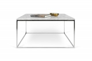Table basse GLEAM 75 - marbre blanc/chrome TEMAHOME 9500.626210