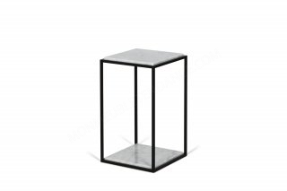 Table d'appoint forrest - marbre blanc / pieds noirs TEMAHOME 9500.628603