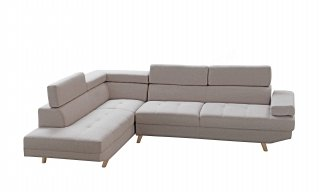 Canapé d'angle gauche style scandinave en tissu beige SAJUCO RX032SCANGMAR