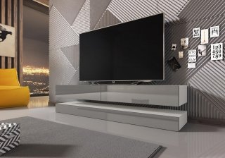 Meuble TV FLY blanc mat / gris brillant