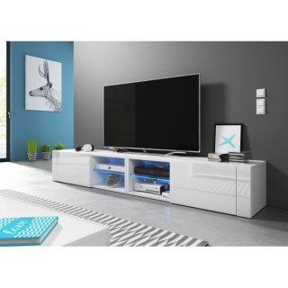 Meuble TV blanc mat / blanc brillant + LED bleu BEST DOUBLE