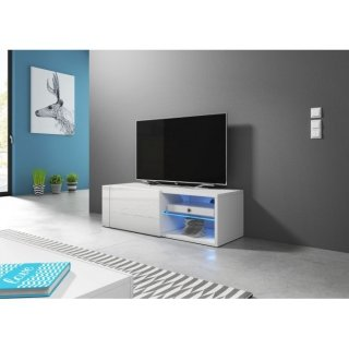 Meuble TV blanc mat / blanc brillant + LED bleu BEST