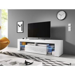 Meuble TV blanc mat / blanc brillant + LED bleu EVEREST