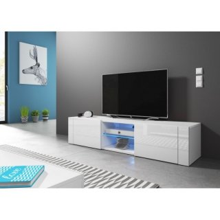 Meuble TV blanc mat / blanc brillant + LED bleu HIT