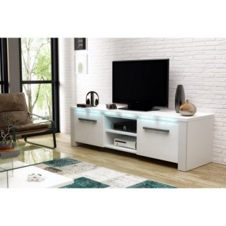 Meuble TV blanc mat / blanc brillant + LED bleu MANHATTAN