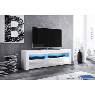 Meuble TV blanc mat / blanc brillant + LED bleu MEX
