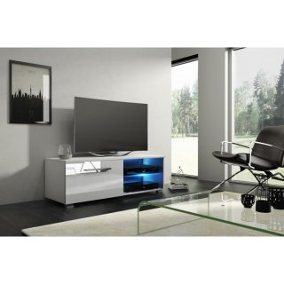 Meuble TV blanc mat / blanc brillant + LED bleu MOON 2