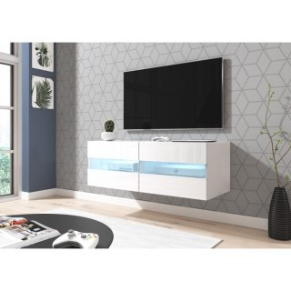 Meuble TV blanc mat / blanc brillant + LED bleu RITA