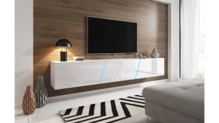 Meuble TV blanc mat / blanc brillant + LED bleu SLANT 240