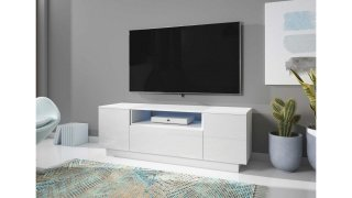 Meuble TV blanc mat / blanc brillant + LED bleu BOX