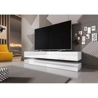 Meuble TV blanc mat / blanc brillant  FLY