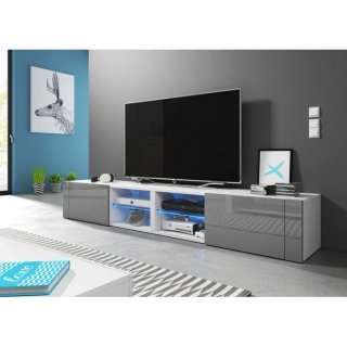 Meuble TV blanc mat / gris brillant + LED bleu BEST DOUBLE