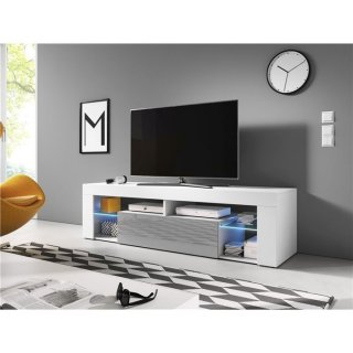 Meuble TV blanc mat / gris brillant + LED bleu EVEREST