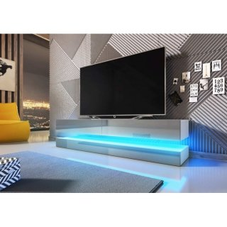Meuble TV blanc mat / gris brillant + LED bleu FLY 2800