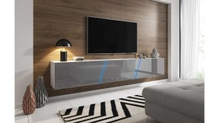 Meuble TV blanc mat / gris brillant + LED bleu SLANT 240