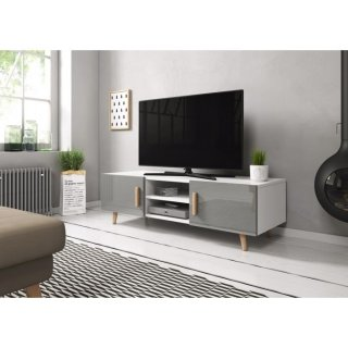 Meuble TV blanc mat / gris brillant SWEDEN 2