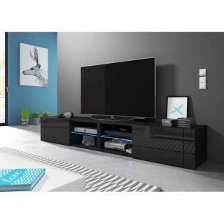 Meuble TV noir mat / noir brillant + LED bleu BEST DOUBLE