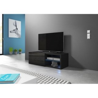 Meuble TV noir mat / noir brillant + LED bleu BEST
