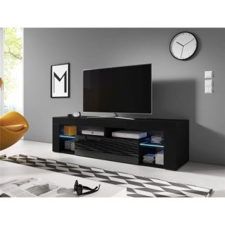 Meuble TV noir mat / noir brillant + LED bleu EVEREST