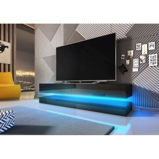 Meuble TV noir mat / noir brillant + LED bleu FLY