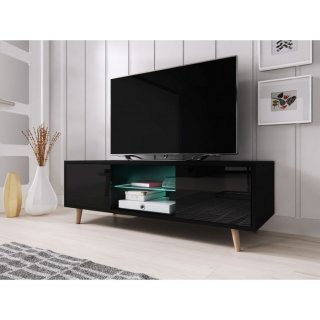 Meuble TV noir mat / noir brillant + LED bleu SWEDEN