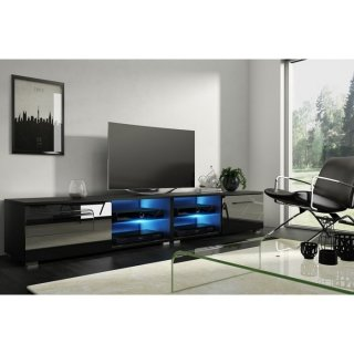 Meuble TV noir mat / noir brillant + LED bleu MOON 2 DOUBLE