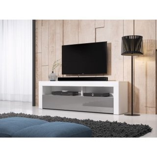 Meuble TV MEX blanc mat / gris brillant