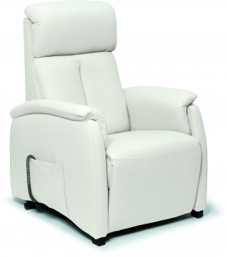 SPAZIO RELAX - Fauteuil Relaxation Asia 83cm 2 moteurs cuir bull blanc