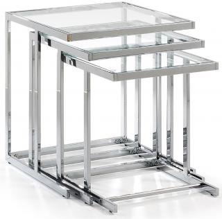 LF - Tables gigognes Blair gigognes verre transparent 50-45 et 40 cm