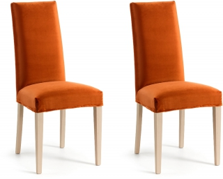 LF - Chaise Lot de 2 chaises Freia tissu velours orange
