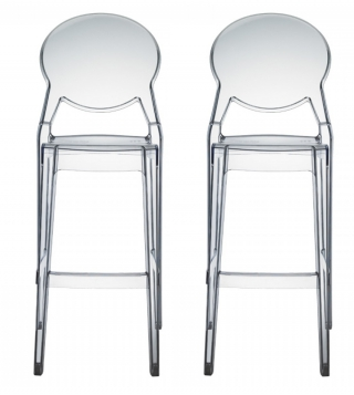 SCAB DESIGN - Tabouret de bar Lot de 2 tabourets Igloo transparente