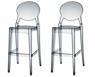 SCAB DESIGN - Tabouret de bar Lot de 2 tabourets Igloo transparente fumé