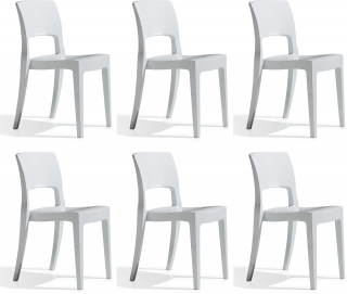 SCAB DESIGN - Chaise Lot de 6 chaises Isy blanc