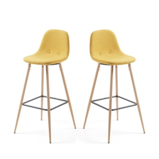 LF - Tabouret de bar Lot de 2 tabourets Nilson moutarde
