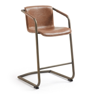 LF - Tabouret de bar Lot de 2 tabourets Trion marron vieilli