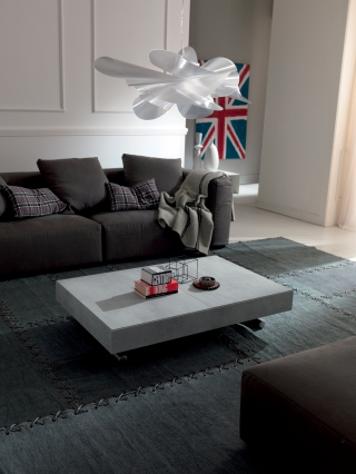 EASYLINE - Table basse New Cover table transformable blanc