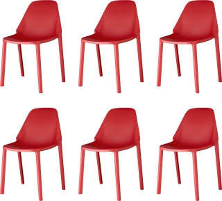 SCAB DESIGN - Chaise Lot de 6 chaises Piu rouge
